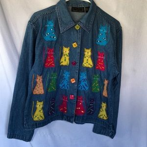 Denim button up shirt with embroidered cats